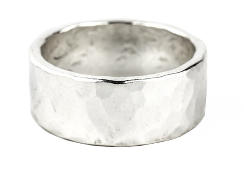 10mm hammered polished ring