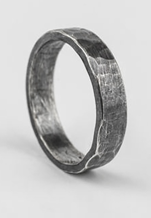 4mm flat hammered ring oxidised ring