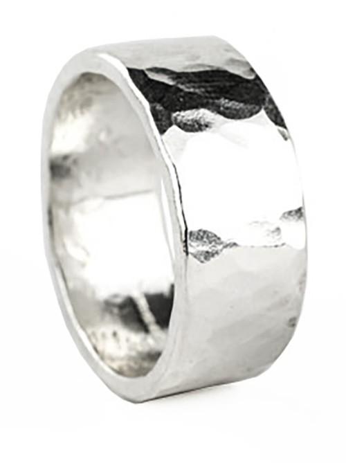 8mm hammered polished ring