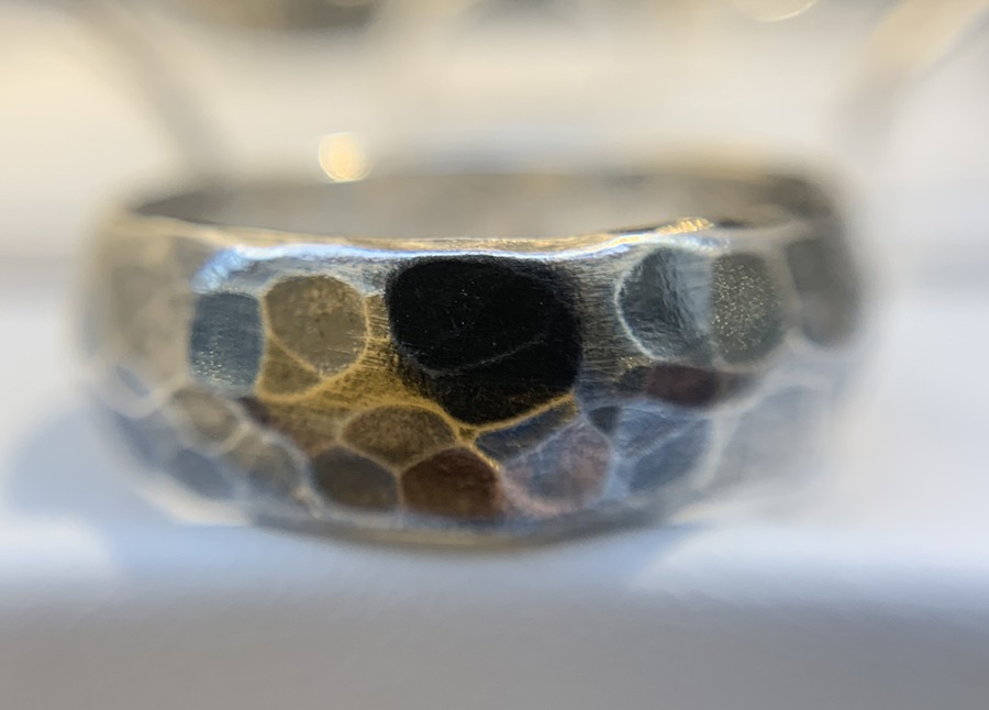 8mm oxidisd silver hammered ring