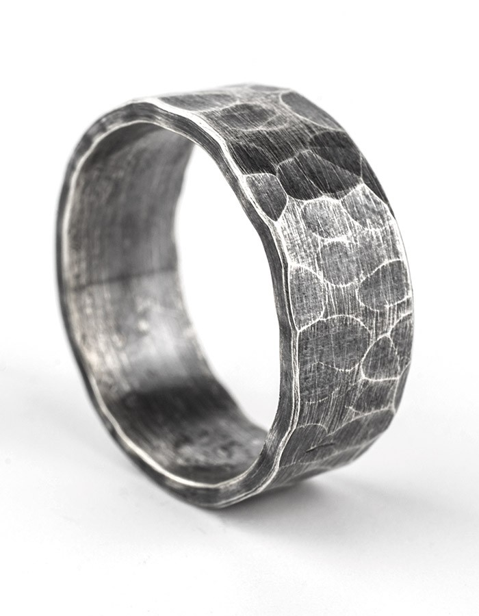 8mm oxidised hammered flat ring
