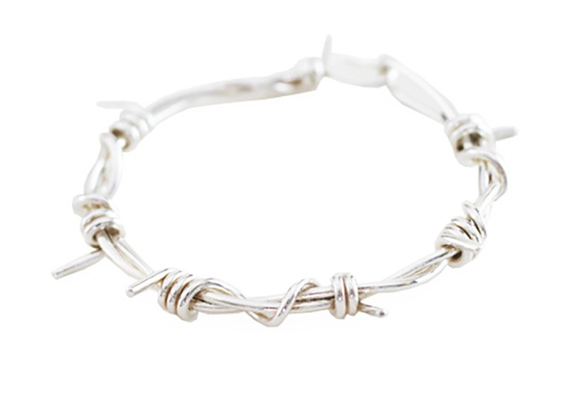 medium barbed wire bracelet polished