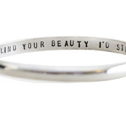 silver personalised message bangle
