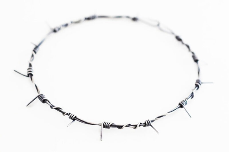 small barbed wire necklace