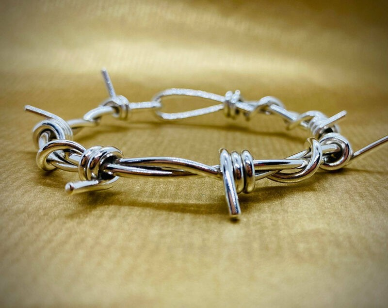 medium barb wire bracelet polished