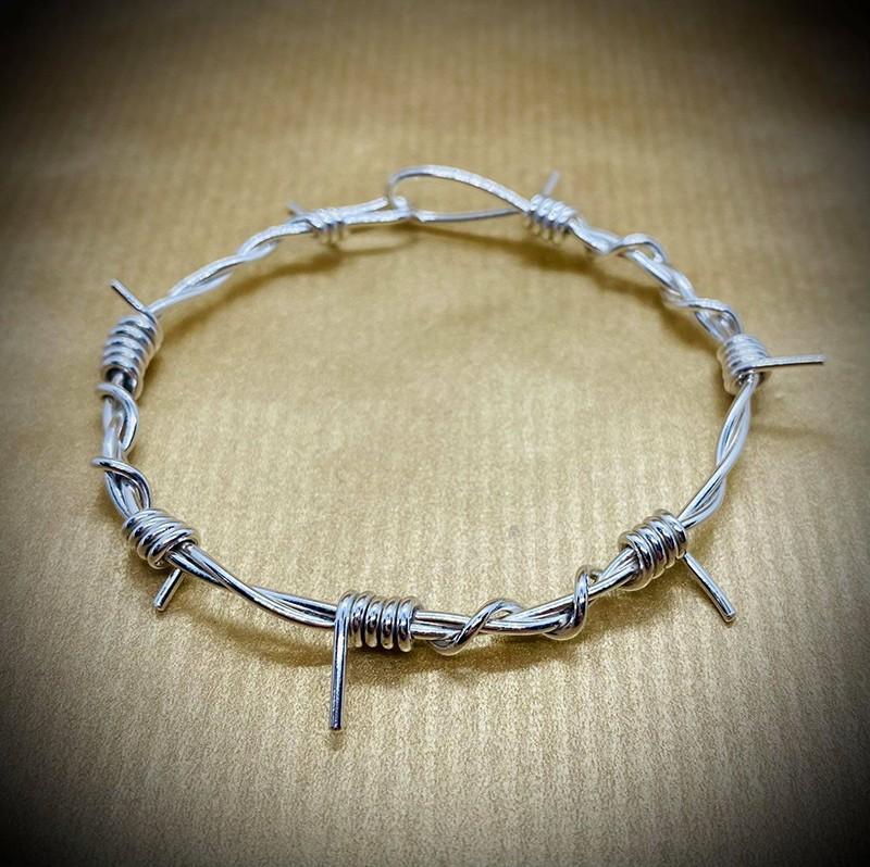 barb wire bracelet polished