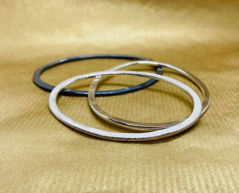 silver flat bangles