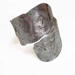 Colette Hazelwood - silver bangle with emeralds